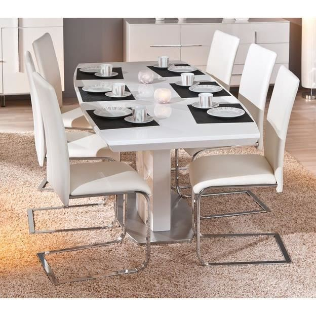 table rectangulaire 1 allonge winnipeg blanche achat. Black Bedroom Furniture Sets. Home Design Ideas