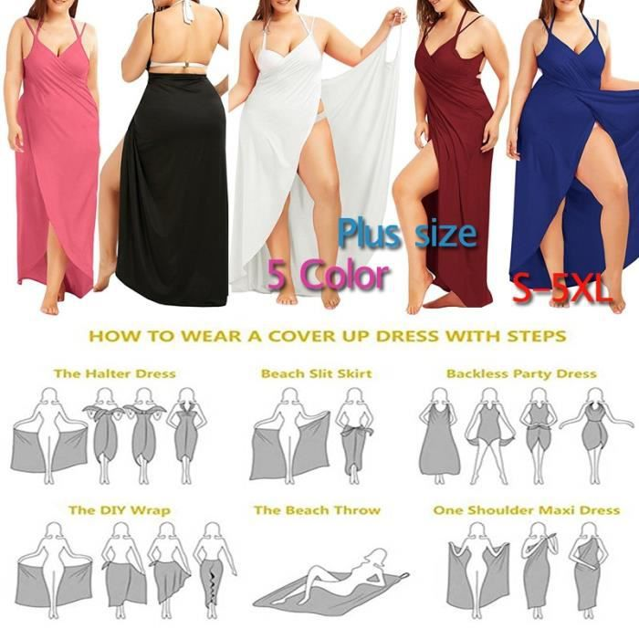 6c1de241d5 Plus Size L-5XL manches de couleur unie coton robe de plage Casual Wear  Wrap Cover Up Beach Dress Maxi Slip Wrap Dress