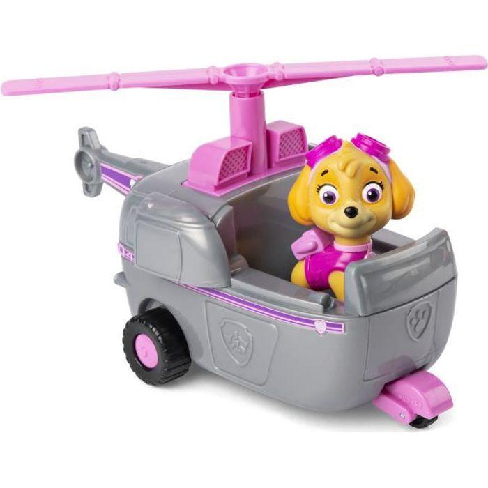 Set Pat Patrouille Chienne Stella Avec Son  Helicoptere Gris Et Rose Figurine