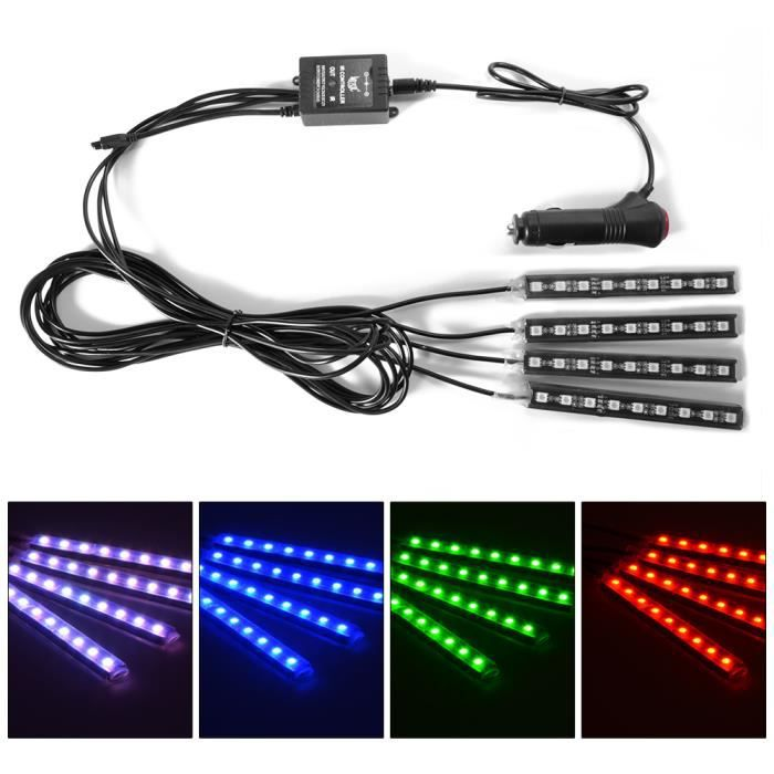 Xcsource 4pcs 8 led kit couleur int rieur eclairage for Eclairage neon interieur