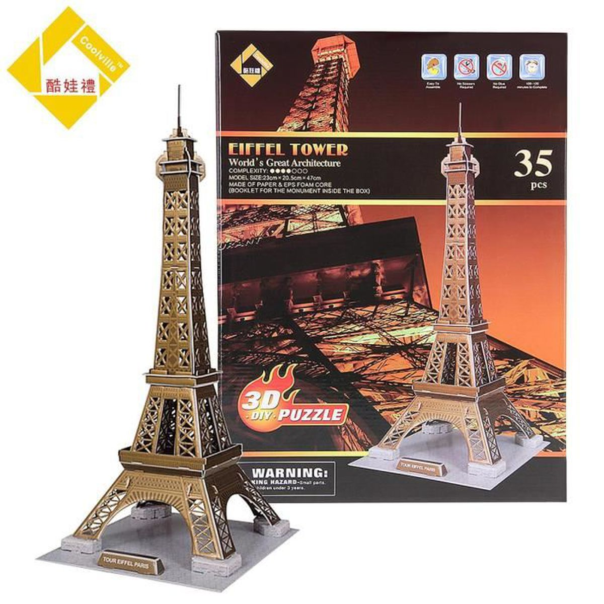 puzzle tour eiffel 3d achat vente puzzle tour eiffel 3d pas cher cdiscount. Black Bedroom Furniture Sets. Home Design Ideas