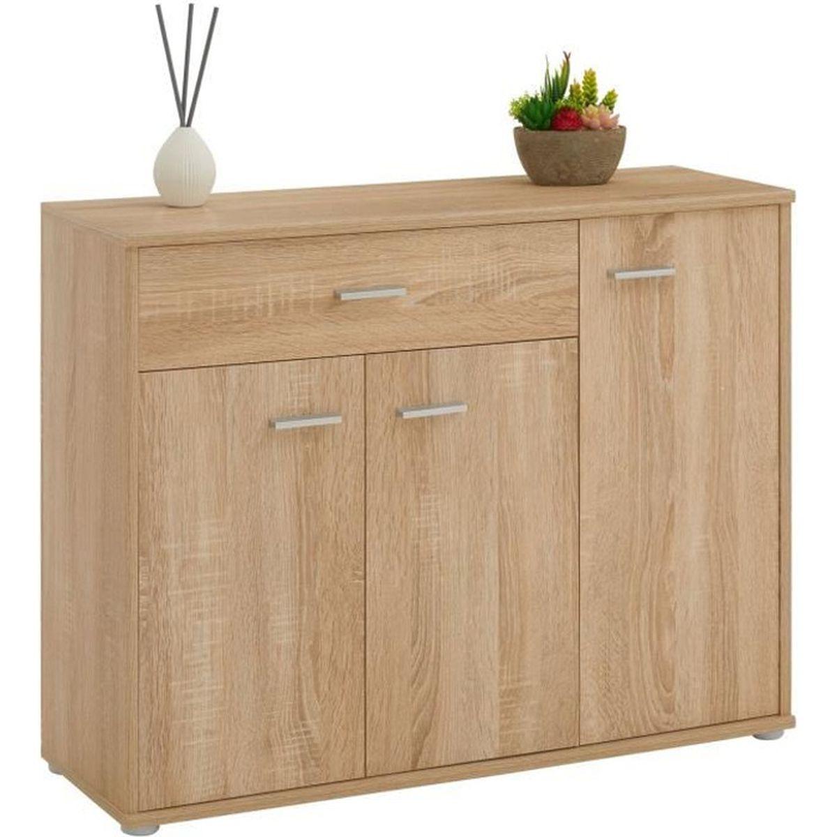 Commode Petite Profondeur 30 Cm buffet coraline, commode meuble de rangement avec 1 tiroir et 3 portes, en  mélaminé décor chêne sonoma