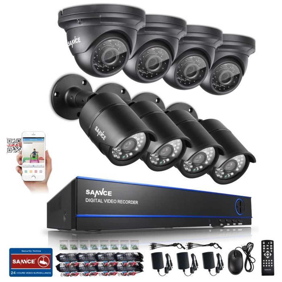 sannce 8ch kit de vid o surveillance 8 cam ra 1080p. Black Bedroom Furniture Sets. Home Design Ideas