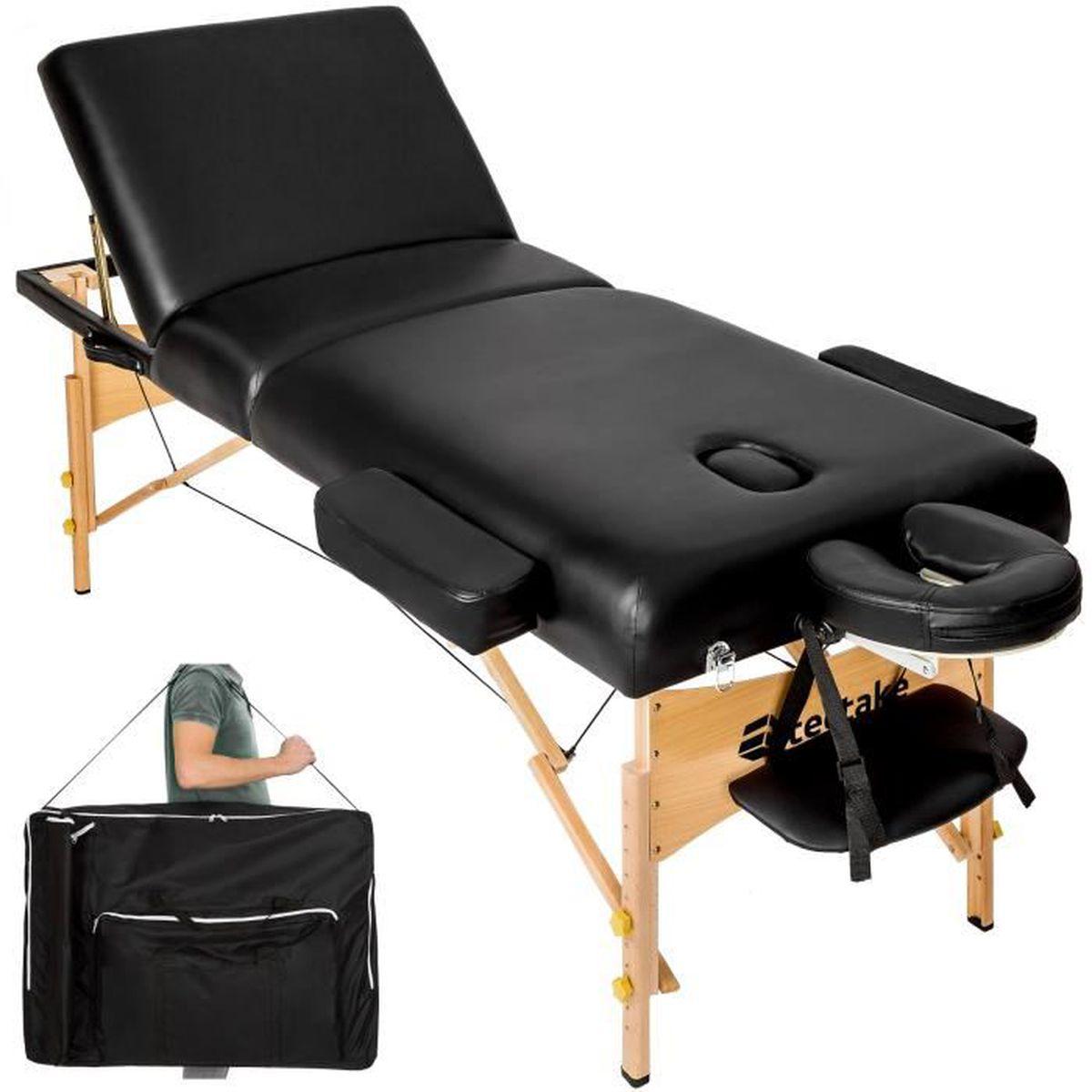 Table de massage TECTAKE Table de Massage Pliante 3 Zones Noir + Ho