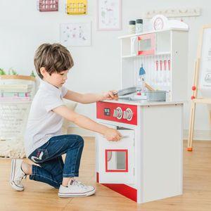 DINETTE - CUISINE Cuisine enfant en bois Little Chef rouge blanche j