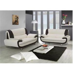 ENSEMBLE CANAPES ENSEMBLE Canapé 3+2 places blanc et noir Marita