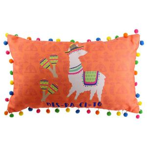 COUSSIN Coussin pompons 'Lama Mania' orange (despacito) -