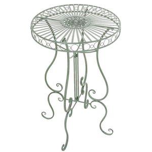 TABLE DE JARDIN  Table de jardin ronde en fer coloris vert antique