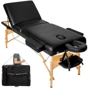 Table de massage TECTAKE Table de Massage Pliante 3 Zones Noir + Ho