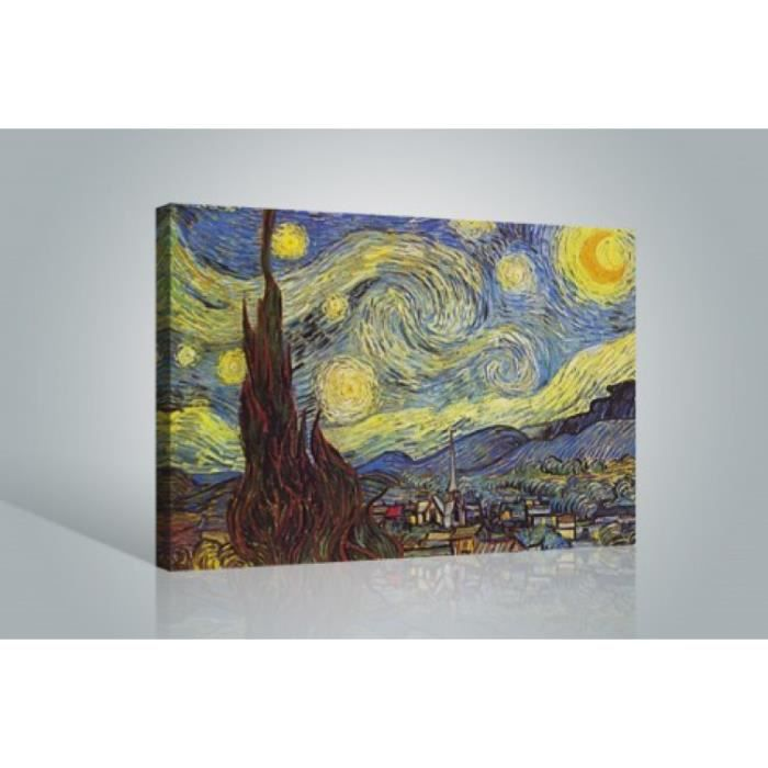vincent van gogh poster reproduction sur toile tendue sur ch ssis la nuit toil e 120 x 80. Black Bedroom Furniture Sets. Home Design Ideas