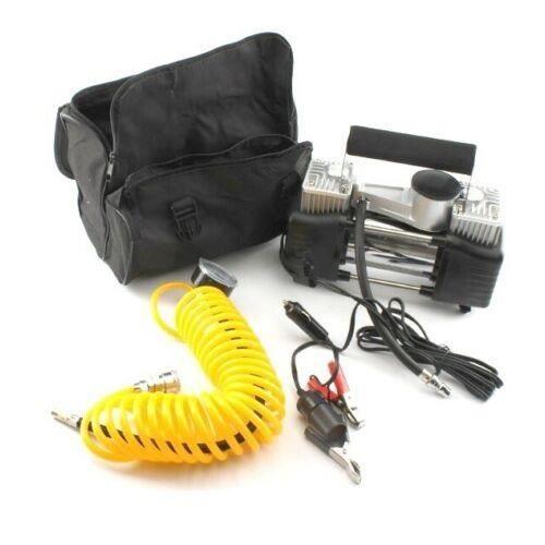 Compresseur d'Air Portatif 12V Pompe Électrique Auto 55L/Min 20A Cylindre Double