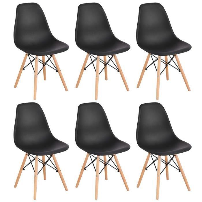 Yifunth Chaises Scandinaves Design Moderne, Bois & Métal, Lot de 6, Noir