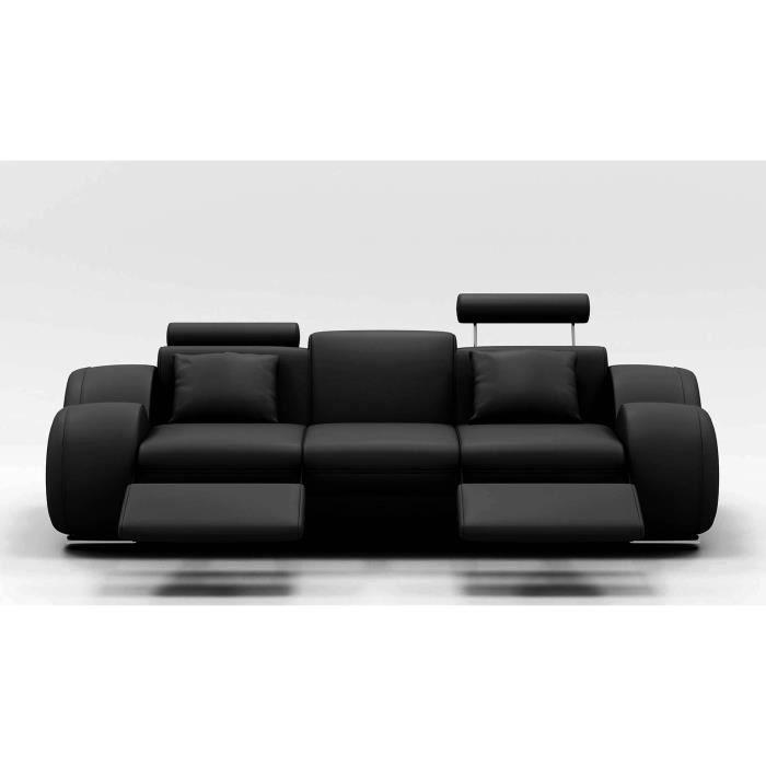 Canapé design 3 places cuir noir + têtières relax OSLO