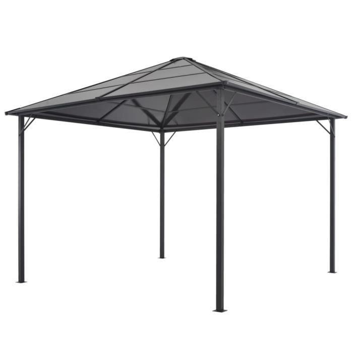 Tonnelle avec toit Aluminium 3x3 m Noir -HB045