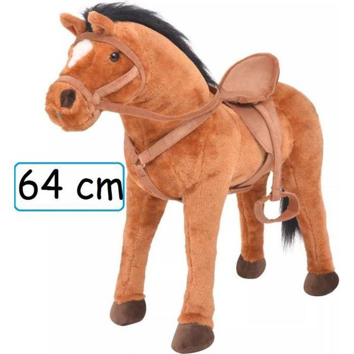 Peluche Cheval Doudou Géant 64 cm XL pour enfant adulte calins décoration cadeau Jouet anniversaire noel