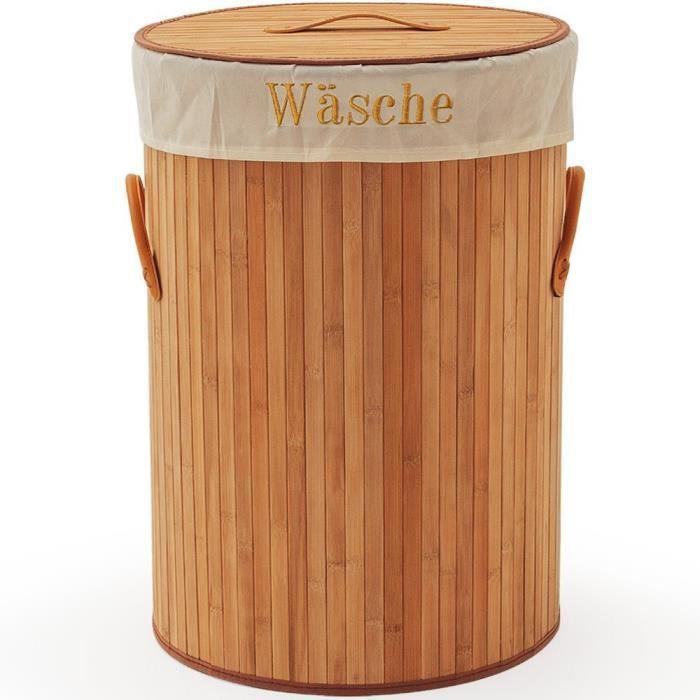 Panier corbeille a linge en bambou pour salle de bain