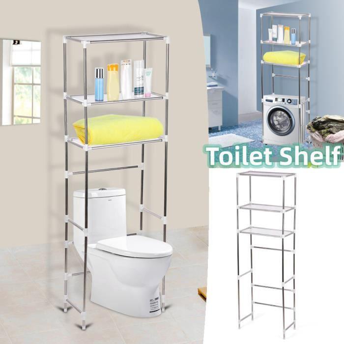 Meuble de toilette / Colonne de toilette / Meuble WC 3 rangées étagère de salle de bains -ABI