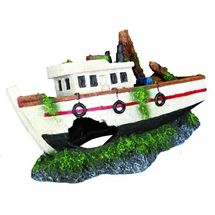 TRIXIE Décoration Barque de pêche 15 cm pour aquarium