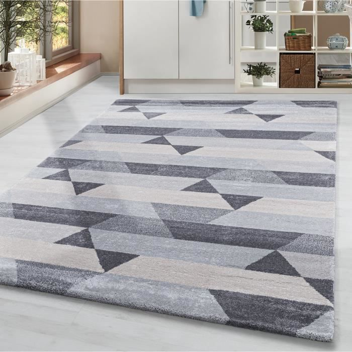 Tapis de salon tapis à poils courts tapis motif triangle bar gris argent crème [Argent, 80x150 cm]