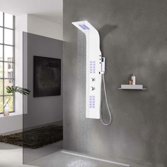 Panneau de douche Style Contemporain - Colonne De Douche Aluminium 20 x 44 x 130 cm Blanc élégant ♫87623
