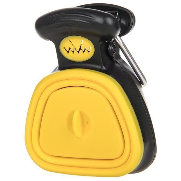 Letouch Nouveau Chien Pooper Scooper, Ramasse crotte portable avec Boîte de rangement en sac - Jaune - S