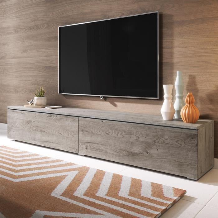 Meuble TV / Meuble de salon - KANE - 180 cm - chêne gris - sans LED - style moderne