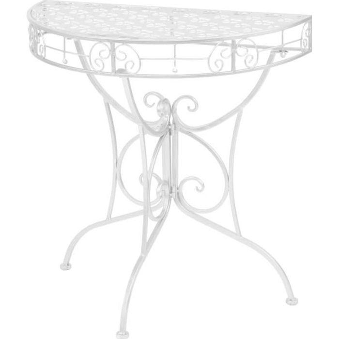 ♕Star- Console Style industriel - Table console -Table d'apponit Vintage Demi-ronde Métal 72x36x74 cm Argenté☆3277