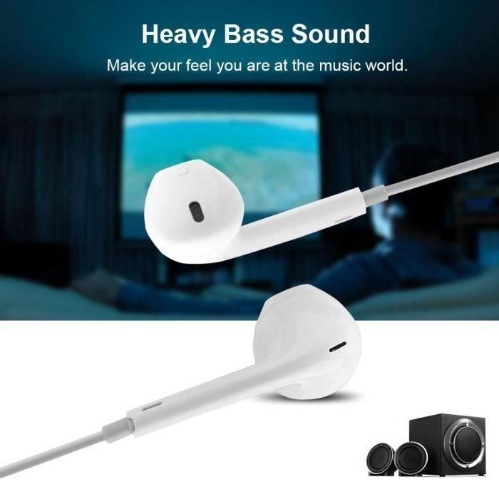 Ecouteurs filaires avec micro 3,5mm filaire écouteurs avec micro pour iPhone 5-6-Blanc-CY