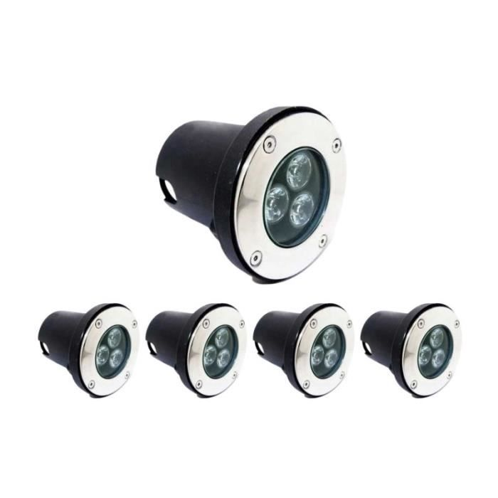 Spot LED Encastrable Extérieur IP65 220V Sol 3W 80° (Pack de 5) - Blanc Neutre 4200k - 5500k Silumen