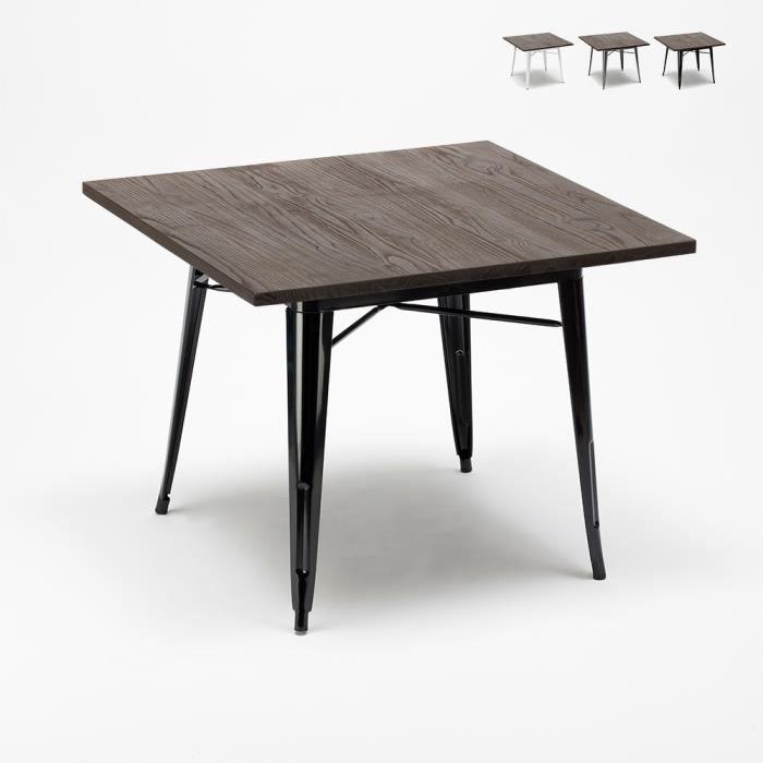 Table industrielle Tolix en acier métal et bois 80x80 bar et maison Allen, Couleur: Noir