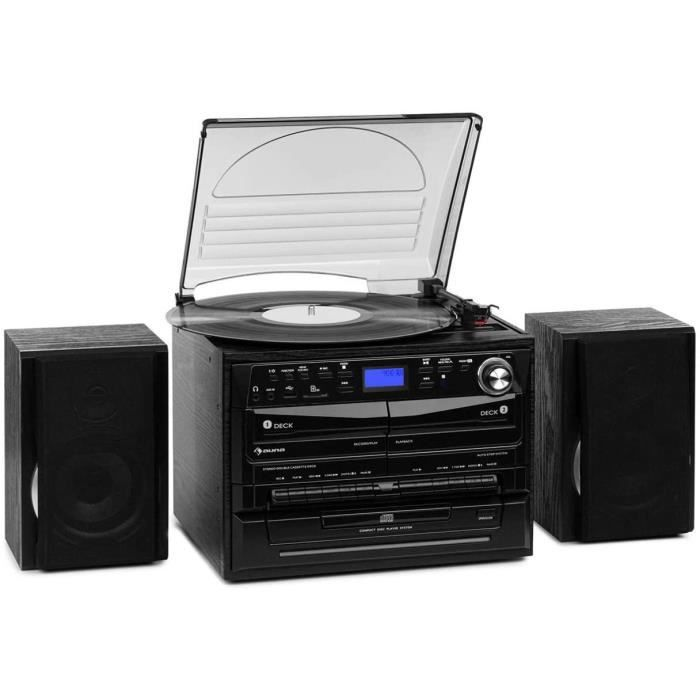 AUNA 388-DAB + - Chaîne compacte, 2 Enceintes, Fonction BT, Tuner Radio FM/Dab+, Platine Vinyle, Lecteur CD avec Fonction MP3, 2 pla