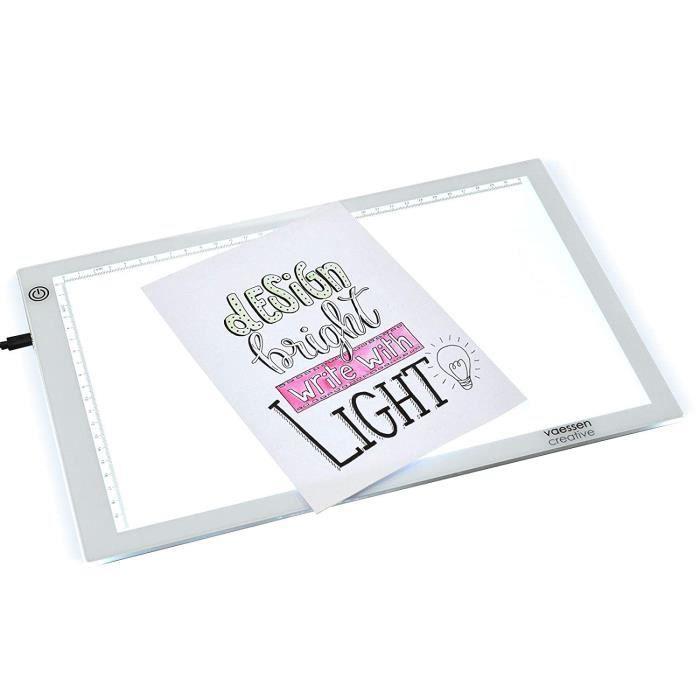 Tables à dessin lumineuses Vaessen Creative Table Lumineuse Trace Easy A4 avec Lumière LED Traçage et Faire de Croquis, 40290