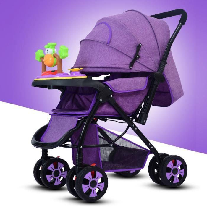 Poussette citadine bébé bidirectionnel pliable Haute-Vue Boîte à musique s'asseoir s'allonger cadeaux tous les saisons Violet
