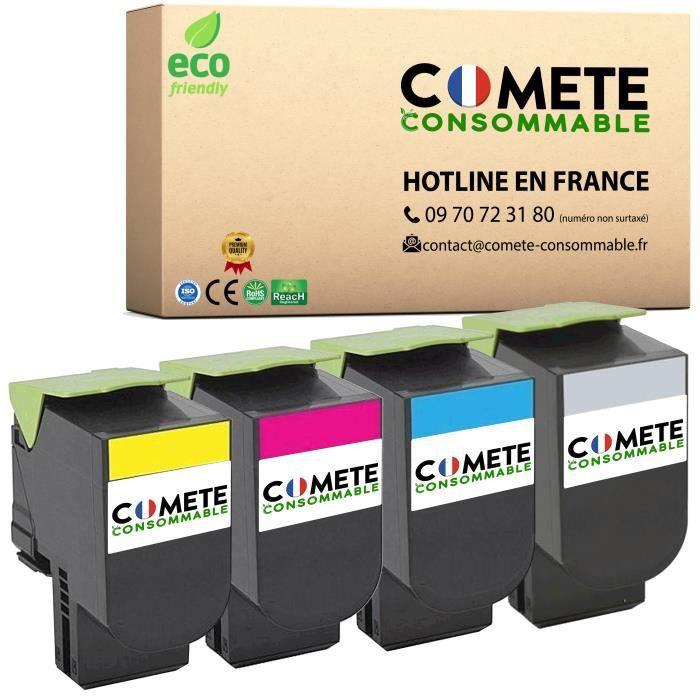 Comète Consommable® Pack de 4 TONER COMPATIBLE PREMIUM LEXMARK 802 802H 802 XL GRANDE CAPACITE CX310 CX310n CX310dn CX410 CX510