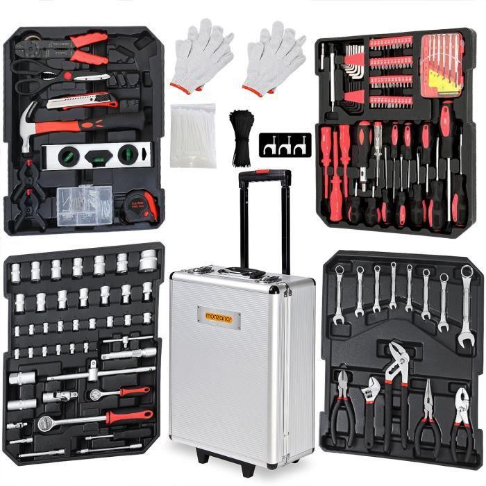 Valise à outils 899 pièces Poignée télescopique Malette à outils à roulettes Boite à outils Set d'outils Caisse à outils complète