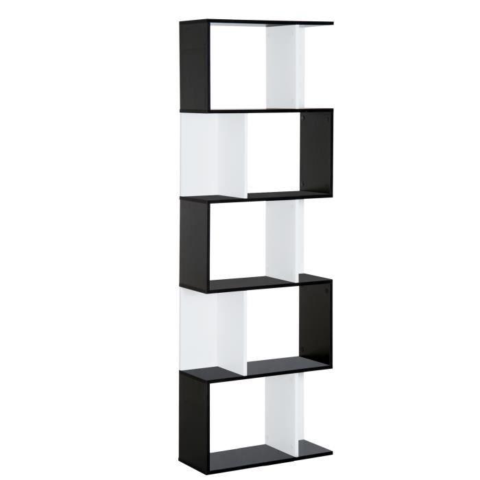 Bibliothèque étagère meuble de rangement design contemporain en S 5 étagères 60L x 24l x 185H cm noir blanc 60x24x185cm Noir