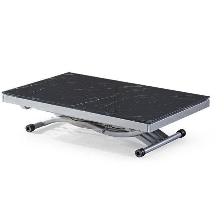 Table basse NEWFORM relevable extensible, plateau en verre trempé, marbré noir noir verre trempé Inside75