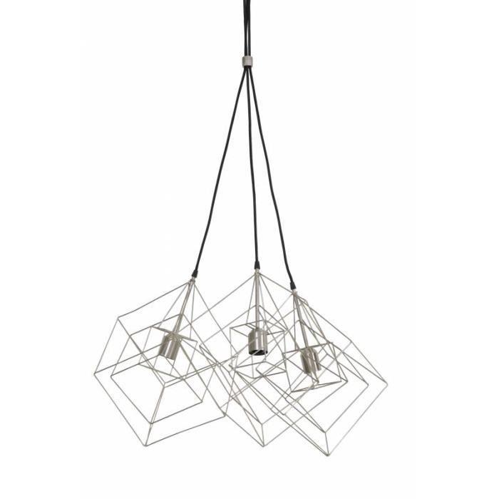 Luminaires Multiples à Suspendre KUBINKA Eclairage Moderne Suspension Géométrique en Métal Patiné Etain 25x25x26cm