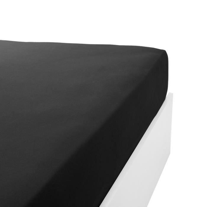 LINANDELLE - Drap housse coton jersey extensible DOUCEUR - Noir - 140x200 cm