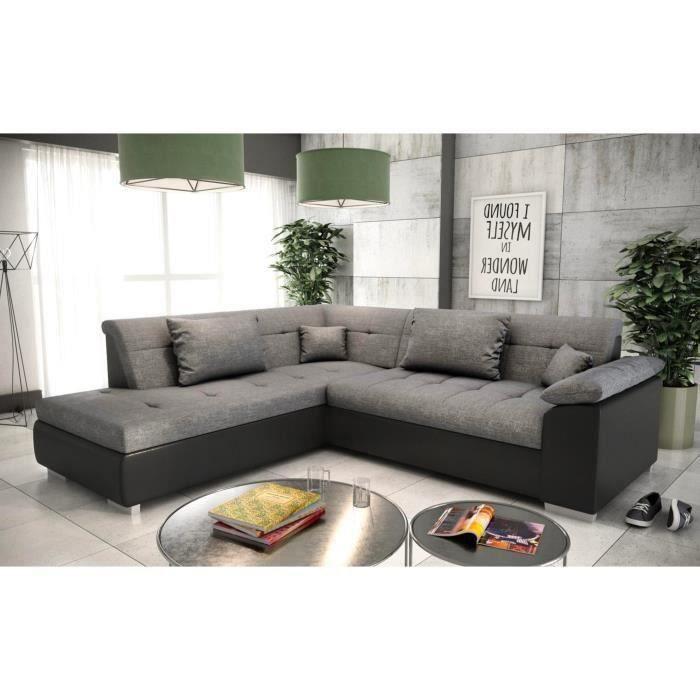 Canapé d'angle gauche convertible LITO gris noir