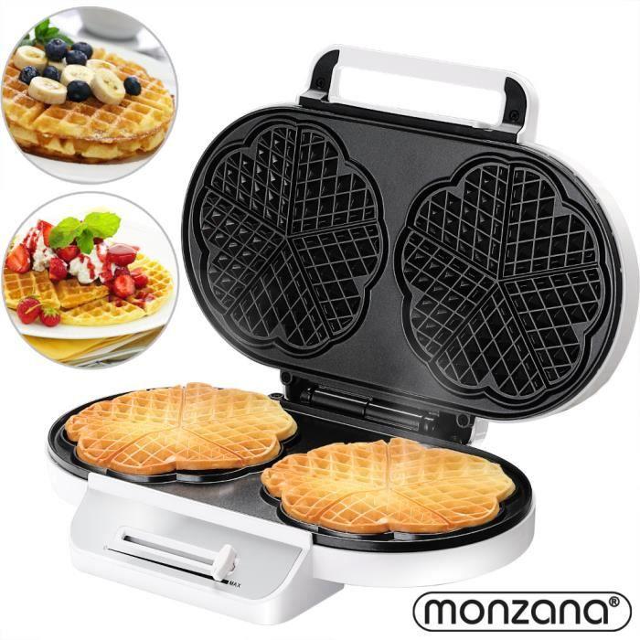Gaufrier électrique blanc 1200 W sans BPA plaques anti-adhésif témoins lumineux 2 surfaces de cuisson cuisine électroménager