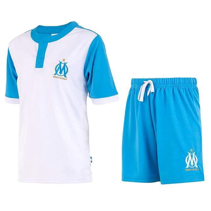 Maillot & Short de Foot Olympique de Marseille Enfant Officiels - Bleu, Blanc