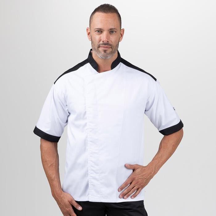 MANELLI Veste de Cuisine Master Noire - Tissu Résistant - Homme Manches longues