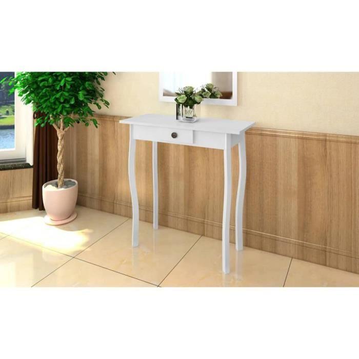 Table console extensible Table d'Appoint Table d'entrée contemporain MDF Blanc