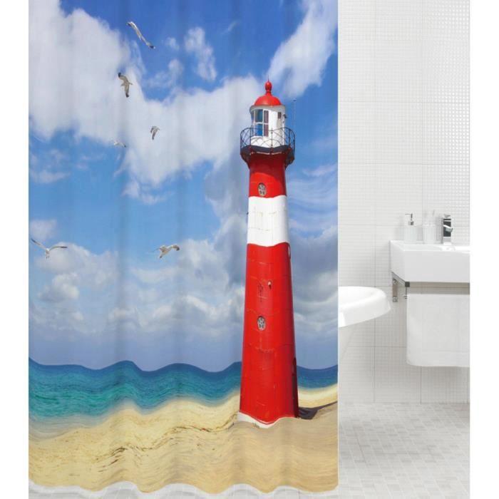 Rideau de douche Phare 180 x 200 cm - de haute qualité - 12 anneaux inclus - imperméable - effet anti-moisissures