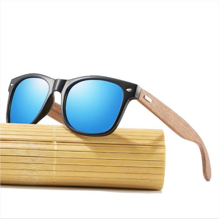 SHARPHY Lunettes de soleil homme en bois jambes en bambou rétro mode lunettes de soleil homme femme polarisées