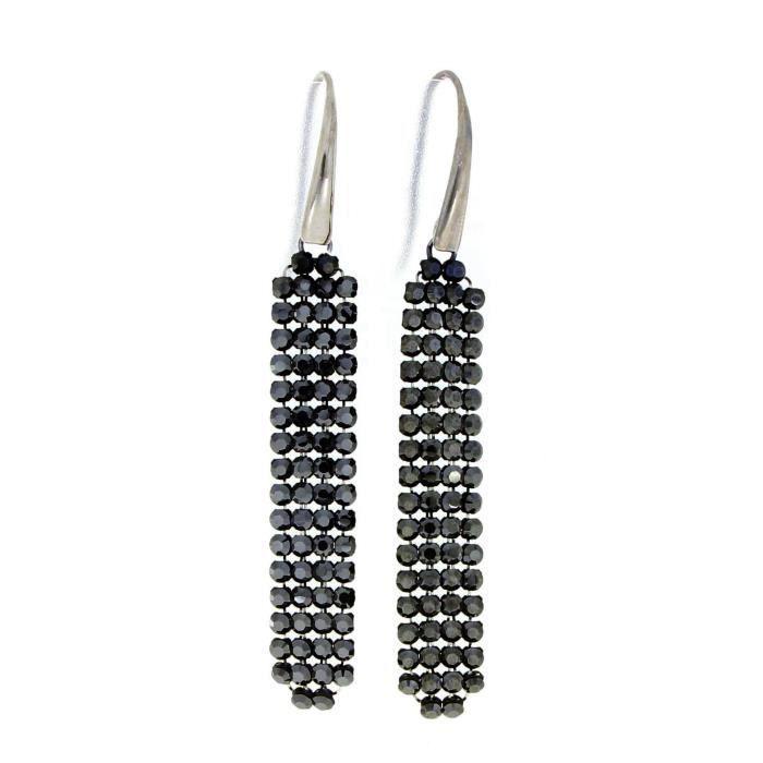 Spark Swarovski Elements boucle d'oreille femme Argent 925 charbonné , pendantes, 64 cristaux noir par pièce, Made with Swarovski