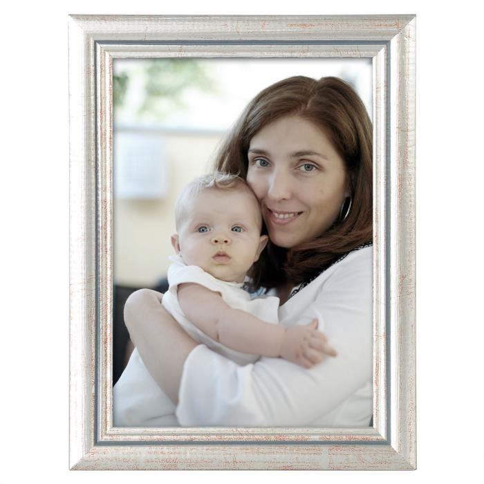 WOLTU Cadre photo en bois et vitre, Cadre photo de style Artos, Façade en verre, 40x50cm environ, Argent