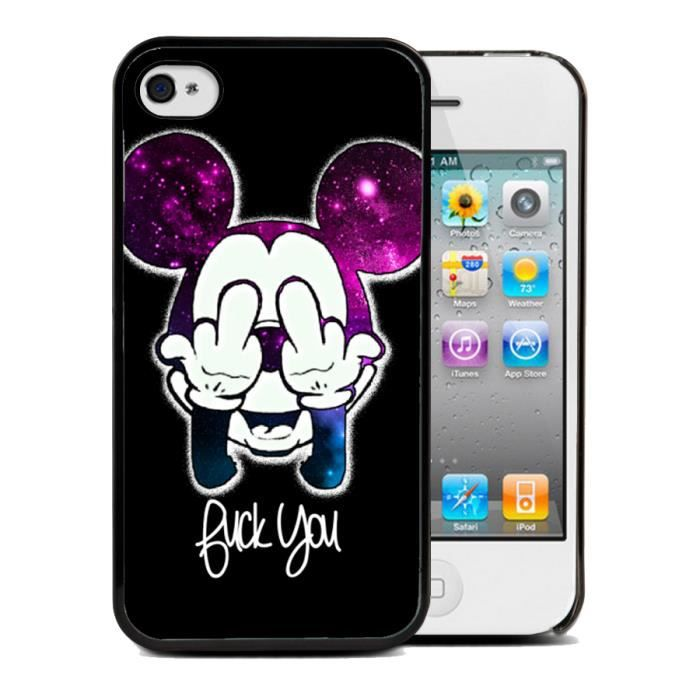 Coque iphone 4/4S FUCK mickey Film protection