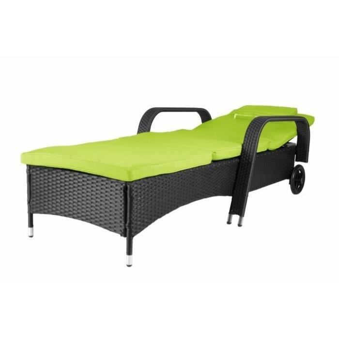 transat poly rotin noir matelas vert roues achat vente chaise longue transat poly rotin. Black Bedroom Furniture Sets. Home Design Ideas